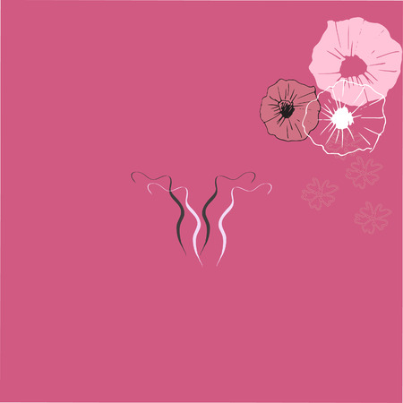 woman vagina: Art drawing of uterus with flower decoration on pink backgroundr