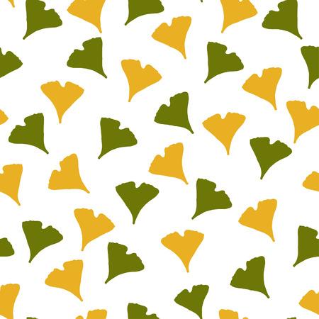 Ginkgo biloba pattern.  Silhouette of ginkgo leaves Vector