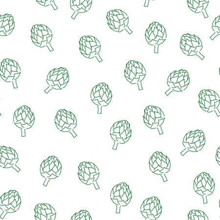 artichoke: Seamless artichoke pattern. Vitamin doodle for kitchen design
