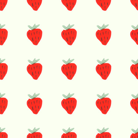 rasberry: Seamless pattern of red ripe strawberries. Natural seamless pattern of garden fruits