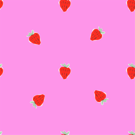 rasberry: Watercolor strawberry pattern. Seamless pattern of hand drawn strawberries. Natural seamless pattern of garden fruits Illustration