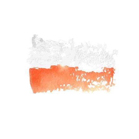 polish flag: Polish flag painted by brush hand paints. Art watercolor flag. Watercolor Poland art flag.