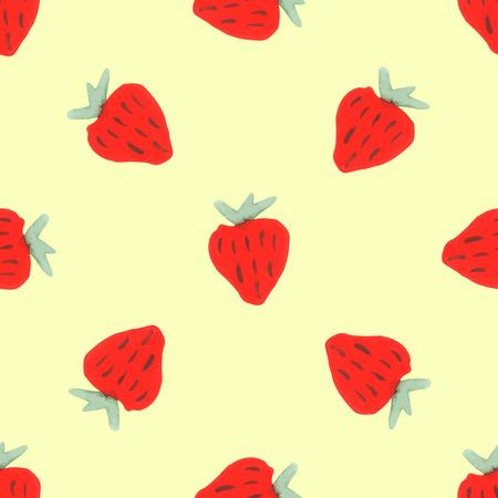 condones: Patrón de la fresa de la acuarela. Modelo inconsútil de las fresas dibujados a mano. Modelo inconsútil natural de frutas del jardín Vectores