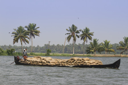 allepey: Allepey backwater in Kerala state, India. Channels on the river in the city of Allapuzha. Stock Photo