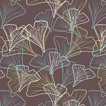 homeopathic: Ginkgo biloba pattern.  Silhouette of ginkgo leaves Illustration