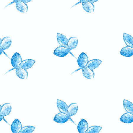 gzhel: Watercolor blue flower silhouette closeup isolated on white background. Art design. Russian style gzhel element