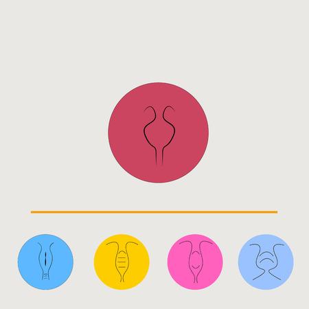 contraceptive: Art drawing set of color uterus icon