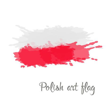 bandera de polonia: Bandera polaca pintado por pinturas de mano de pincel Vectores