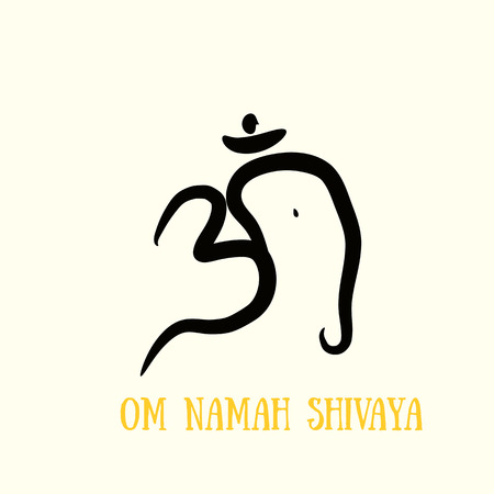sanskrit: Om with elephant head sign painted by hand. The sacred symbol in Buddhism and Hinduism.