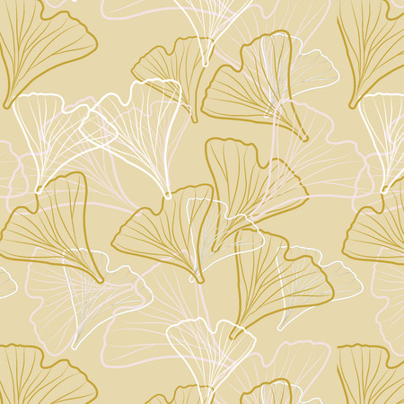 textile texture: Ginkgo biloba pattern seamless.  Silhouette of ginkgo leaves
