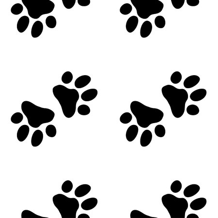 child and dog: Paw dog pattern. Illustration for zoo print
