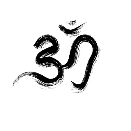 hand symbol: Om sign painted by hand. The sacred symbol in Buddhism and Hinduism.