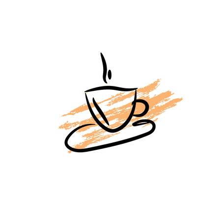 cofee cup: Coffee cup icon.  Silhouette of cofee cup on grunge background. Illustration