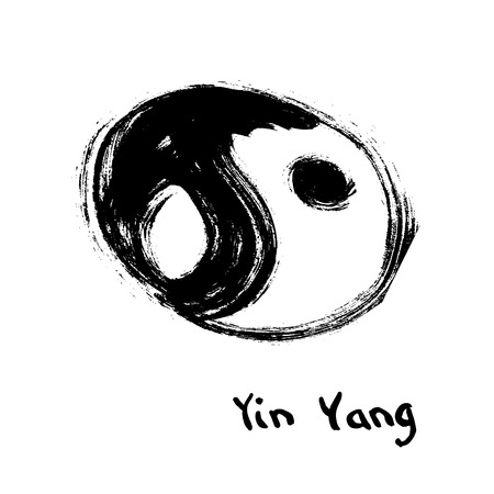 oriental medicine: Buddhist symbol of yin yang. Chinese calligraphy grunge ink. Illustration
