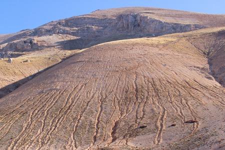mountaintop: Scenery of mountain landscape in Elmali. Highland stone desert. Glacier trail