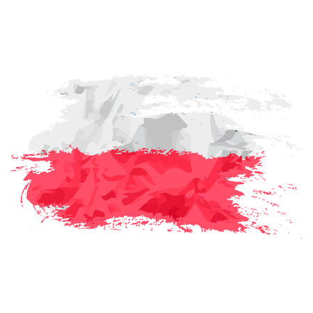 poland flag: Poland flag painted by brush hand paints. Polish art flag.  Grunge flag Illustration