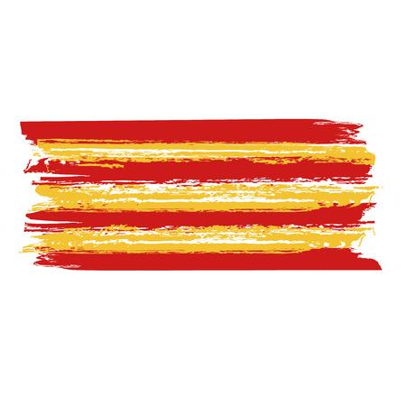 Catalan flag painted by brush hand paints. Catalonia art flag. Grunge Illustration