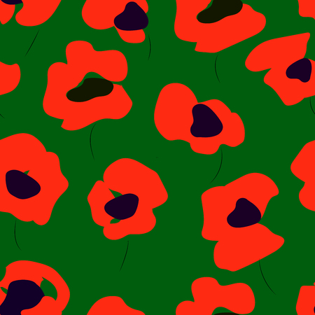 poppy field: Seamless pattern of red poppies. Floral pattern of poppies.