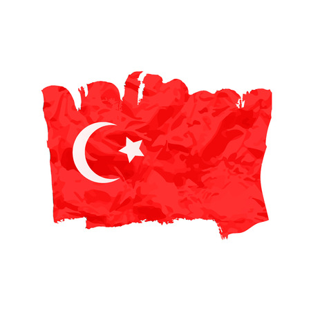 turkish flag: Turkish  flag painted by brush hand paints. Art flag. Abstract background symbolizes. I love Turkey Illustration