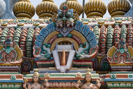 sanskrit: Relief of temple in Kanchipuram, Tamil Nadu, South India Stock Photo