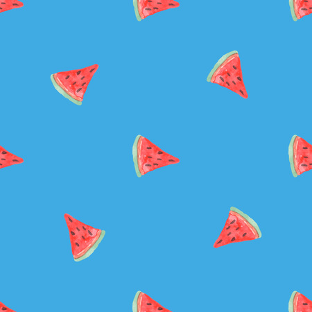 rasberry: Seamless natural color pattern of red watermelon. Natural seamless pattern of garden market fruits Illustration
