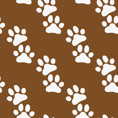 shadowy: Paw zoo pattern. Brown and white illustration for zoo design.