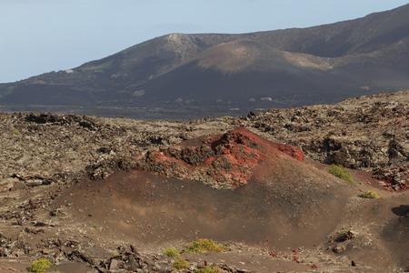 scoria: Desert arid peak stone volcanic mars landscape in Lanzarote, Canary Islands Stock Photo
