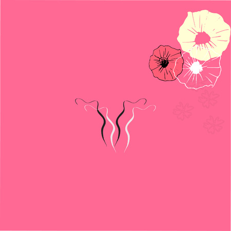 cervix: Art drawing of uterus with flower decoration on pink background Illustration