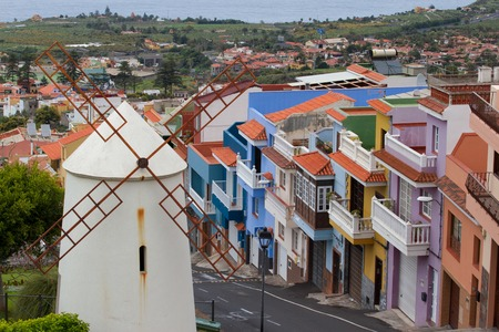 rural town: TENERIFE, CANARY ISLANDS, SPAIN - april 10, 2016: La Orotava city and nearest rural town