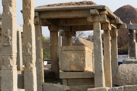 phallus: Sacred monuments in Hampi city. Stone temples of the royal dynasty
