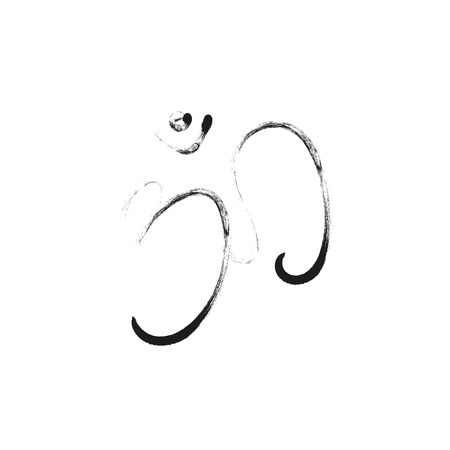 sanskrit: Om sign painted by hand. The sacred symbol in Buddhism and Hinduism