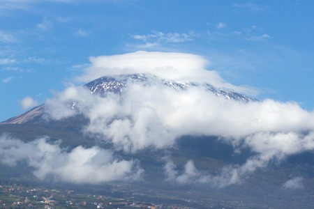 Beauty view of La Orotava valley and snow capped volcano Teide