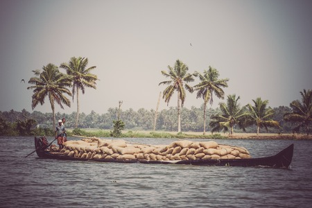 allepey: Allepey, Kerala, India March 31, 2015: Indian man transport dwell with rice for boats. backwaters canoe in state