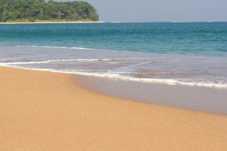 Beach line Indian ocean. Sand, tree, forest Clean blue lagoon Stock Photo