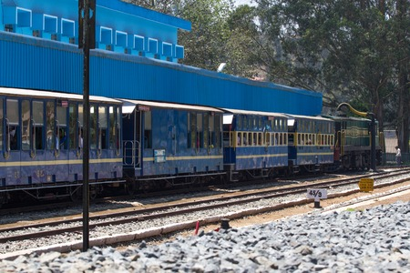 OOTY, TAMIL NADU, INDIA, 22 March 2015 : Nilgiri mountain railway. Blue train. Editorial