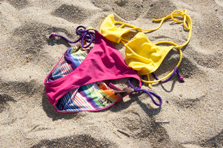 Holidays without bathing suit, cloth free, nudism Underwear Stock Photo