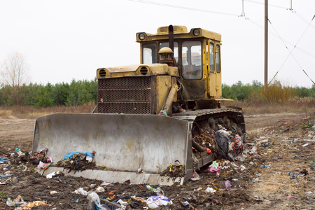 tracked: Heavy tracked vehicles generates garbage heap of aborted plastic in landfill outside the city. Waste sorting is required. Lviv city