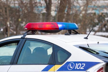 庭のライトと上部ウクライナ警察車の常任