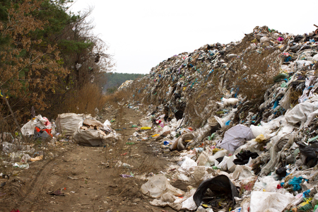 groundwater: Landfill in Ukraine, piles of plastic dumped in piles. The roads along inorganic waste jumble, Air, ground pollution