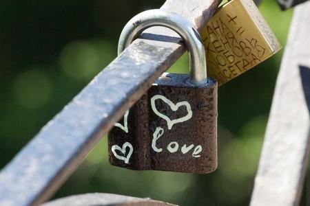 Love heart symbol eternal on metal lock. Romantic concept. Pretty valentine background Stock Photo