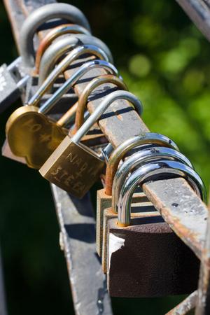 Bunch of locks. Metal lock. Security, safe