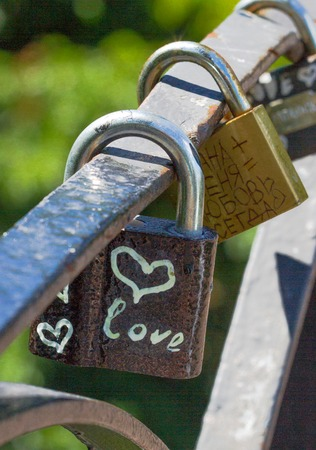 Love heart symbol. Bunch lock. Chain with many metal lockers