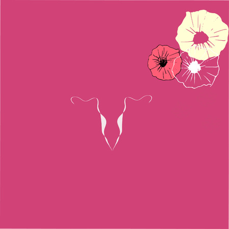 Art drawing uterus icon on pink background. Gynecology design.
