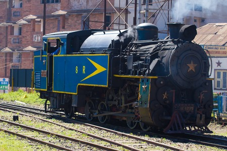 OOTY, TAMIL NADU, INDIA, 20 March 2015 : Nilgiri mountain railway. Blue train. Unesco heritage. Narrow gauge