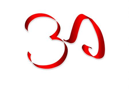 Art ohm sign. Om symbol. Yoga practice aum symbolizing. Gradient red ribbon icon. Illustration