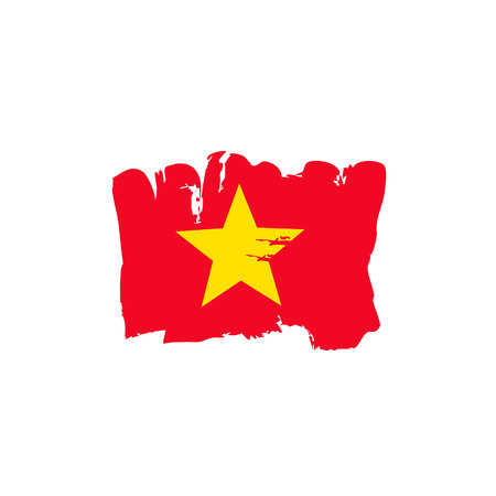 Hand painted Vietnam flag vector illustration.