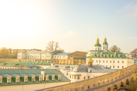Panoramic view of the distant and near caves of Kiev Pechersk Lavra monastery in Kiev, Ukraine. Kiev-Pechersk Lavra. Color toning. Old photo style.