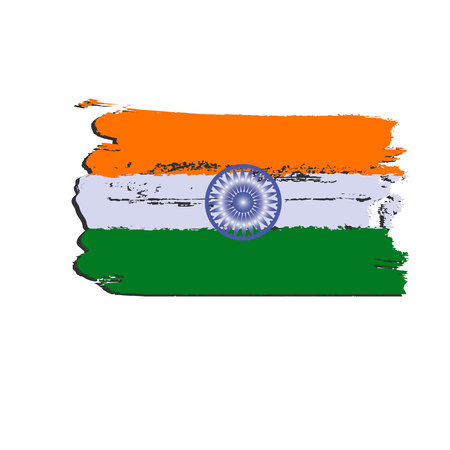India flag painted by brush hand paints.