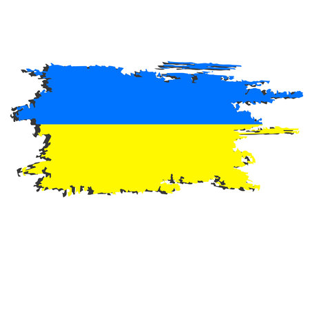 Ukraine flag painted by brush hand paints. Art flag. Ukrainian abstract background symbolizes the countrys patriotism and pride to the country. Illustration