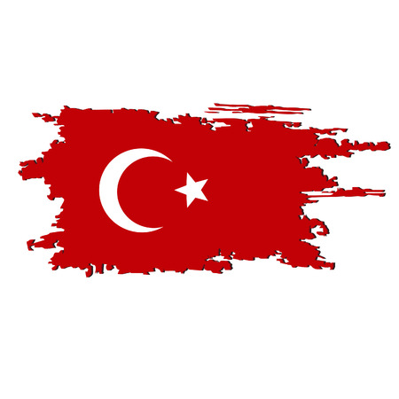 Turkey flag painted by brush hand paints. Art flag. Watercolor flag Turkey. Turkish art vector flag.
